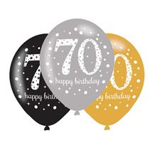 Gold Sparkle 70th Birthday Latex Party Balloons