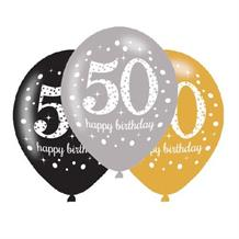 Gold Sparkle 50th Birthday Latex Party Balloons