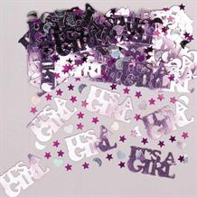 It's A Girl | Baby Shower Pink & Silver Party Table Confetti | Decoration