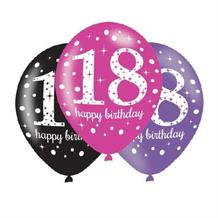 Pink Sparkle 18th Birthday Latex Party Balloons - Balloon x 6
