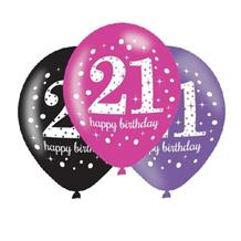 Pink Sparkle 21st Birthday Latex Party Balloons