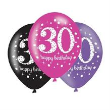 Pink Sparkle 30th Birthday Latex Party Balloons