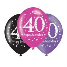 Pink Sparkle 40th Birthday Latex Party Balloons