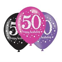 Pink Sparkle 50th Birthday Latex Party Balloons