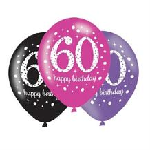 Pink Sparkle 60th Birthday Latex Party Balloons