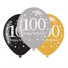 Gold Sparkle 100th Birthday Latex Party Balloons