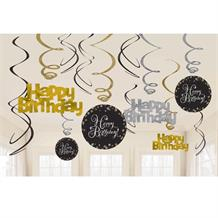 Gold Sparkle Happy Birthday Hanging Swirl Decorations
