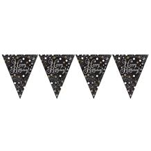 Gold Sparkle Happy Birthday Flag Banner | Bunting