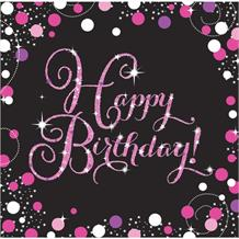 Pink Sparkle Happy Birthday Party Napkins