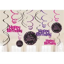 Pink Sparkle Happy Birthday Hanging Swirl Decorations