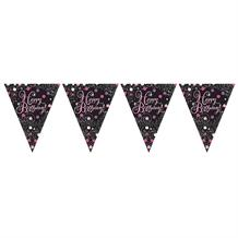 Pink Sparkle Happy Birthday Flag Banner | Bunting