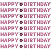 Pink Sparkle Happy Birthday Paper Letter Banner