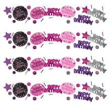Pink Sparkle Happy Birthday Party Table Confetti | Decoration