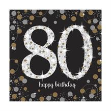 Gold Sparkle 80th Birthday Party Napkins