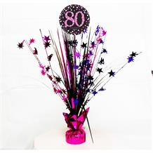 Pink Sparkle 80th Birthday Party Table Centrepiece