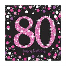 Pink Sparkle 80th Birthday Party Napkins
