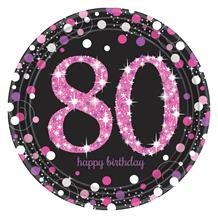 Pink Sparkle 80th Birthday Party Plates
