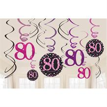 Pink Sparkle 80th Birthday Hanging Swirl Decorations