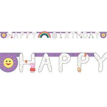 Peppa Pig Rainbow Happy Birthday Banner Party Decoration 2.1m