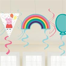 Peppa Pig Rainbow Hanging Swirl Party Decorations