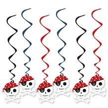 Pirate Skull Party Hanging Swirl Decorations