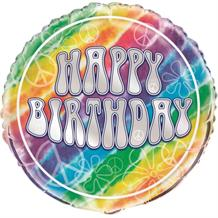 "Tie Dye 18"" Happy Birthday Foil 