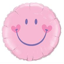 "Baby Pink Smiley Face 18"" Foil 