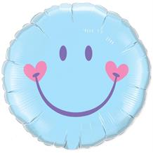 "Baby Blue Smiley Face 18"" Foil 