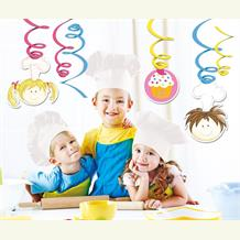 Little Cooks | Chef Party Hanging Swirl Decorations