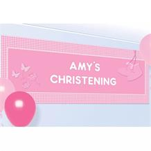 Pink Booties Christening Giant Personalisable Banner | Decoration
