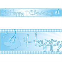 Blue Booties Christening Foil Banner | Decoration
