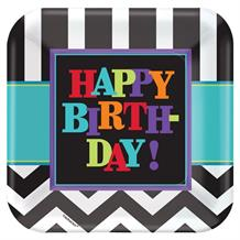 Chevron Happy Birthday Party Plates