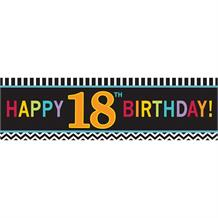 Chevron 18th Giant Happy Birthday Banner | Decoration