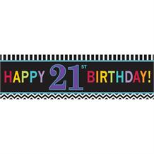Chevron 21st Giant Happy Birthday Banner | Decoration