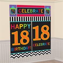Chevron 18th Birthday Giant Scene Setter Party Decoration