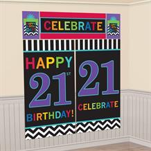 Chevron 21st Birthday Giant Scene Setter Party Decoration
