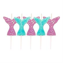 Mermaid Glitter Tails Birthday Cake Candles | Decoration