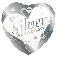Silver Wedding 25th Anniversary Party Foil | Helium Party Balloon