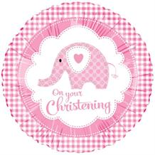 Pink Elephant Christening Foil | Helium Balloon