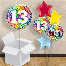"Colourful Confetti 13th Birthday 18"" Balloon in a Box"