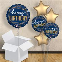 "Navy Blue and Gold Happy Birthday 18"" Balloon in a Box"