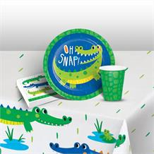 Alligator | Crocodile Party 8 to 48 Guest Starter Party Pack - Tablecover | Cups | Plates | Napkins