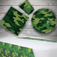 Army Camouflage 8 to 48 Guest Starter Party Pack - Tablecover | Cups | Plates | Napkins