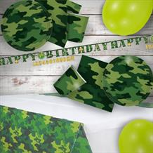 Army Camouflage 8 to 48 Guest Premium Party Pack - Tableware | Balloons | Decoration