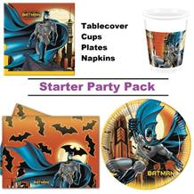 Batman Gotham 8 to 48 Guest Starter Party Pack - Tablecover | Cups | Plates | Napkins