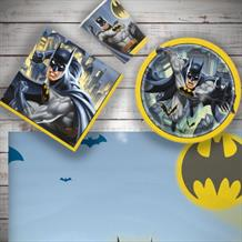 Batman Party 8 to 48 Guest Starter Party Pack - Tablecover | Cups | Plates | Napkins