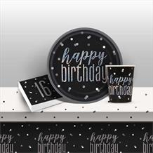 Black and Silver Holographic 16th Birthday 8 to 48 Guest Starter Party Pack - Tablecover | Cups | Plates | Napkins