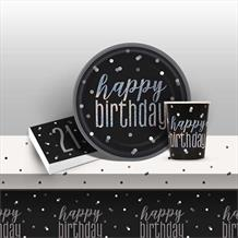 Black and Silver Holographic 21st Birthday 8 to 48 Guest Starter Party Pack - Tablecover | Cups | Plates | Napkins