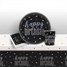 Black and Silver Holographic Happy Birthday 8 to 48 Guest Starter Party Pack - Tablecover | Cups | Plates | Napkins