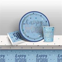 Blue and Silver Holographic 50th Birthday 8 to 48 Guest Starter Party Pack - Tablecover | Cups | Plates | Napkins